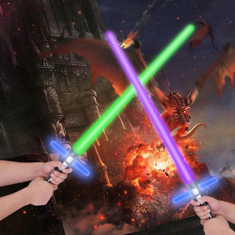 Colorful Cross Telescopic Laser Sword Children Toy Sword Outdoor Luminous Flashing Sword Cosplay Props Kid Gifts Hero Game Props