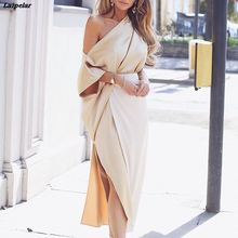 Women One Shoulder Elegant Formal Wrap Dress Side Slit Dress Plunge V Neck Dress Autumn Party Dresses Robe Long Vestidos plunge floral print side slit jumpsuit