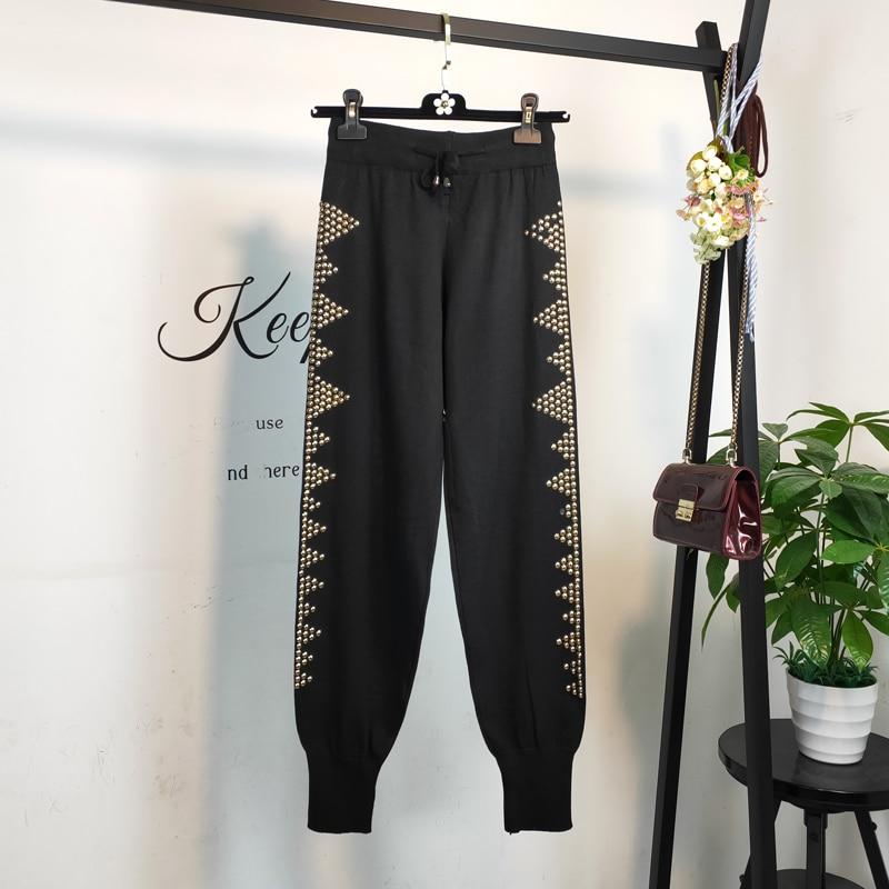 Qiukichonson Beading Black Women Harem Pants 2019 England Style Spring High Waist Casual Jogger Pants Fashion Knitted Sweatpants