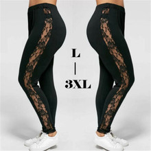 Plus Size Sexy Women Holllow Out Lace Leggings Sexy High Waist Bandage Pants Insert Sheer Leggings Viscose Elastane