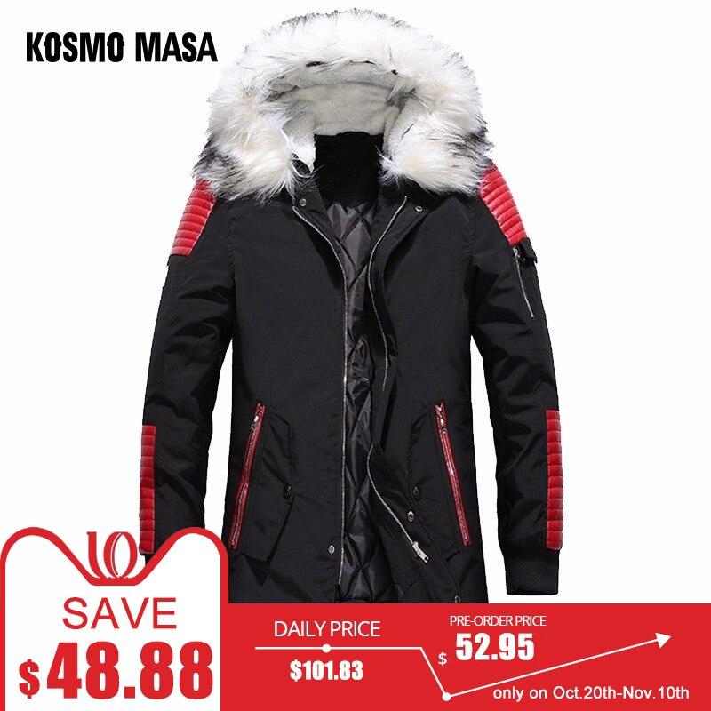 fb01fd16d17 KOSMO MASA Black Long Man Winter Jacket Men Warm Military Fur Hooded 2018 Mens  Jackets And Coats Zipper Down Men Parkas MP029