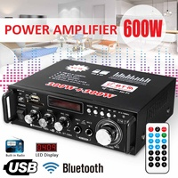 12V 220V 2CH 600W LCD Display Digital HIFI Audio Power Amplifier bluetooth FM Radio Car Home Subwoofer Stereo W/ Remote Control
