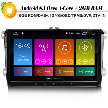 9 DAB+ Android 8.1 Autoradio Car stereo GPS RDS OBD DVT-IN Car Radio Player for VW Passat CC Touran Amarok Beetle EOS Jetta T5 image