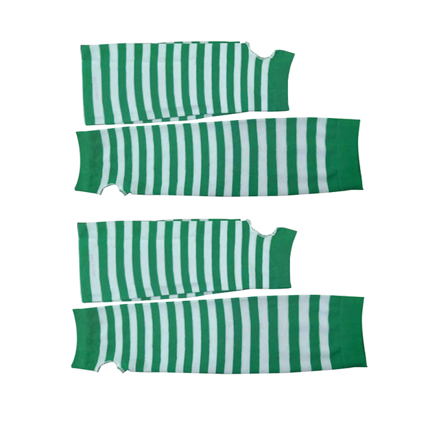 Green White Striped Mittens Warmers Long Glove For St. Patrick'S Day Party Decorative