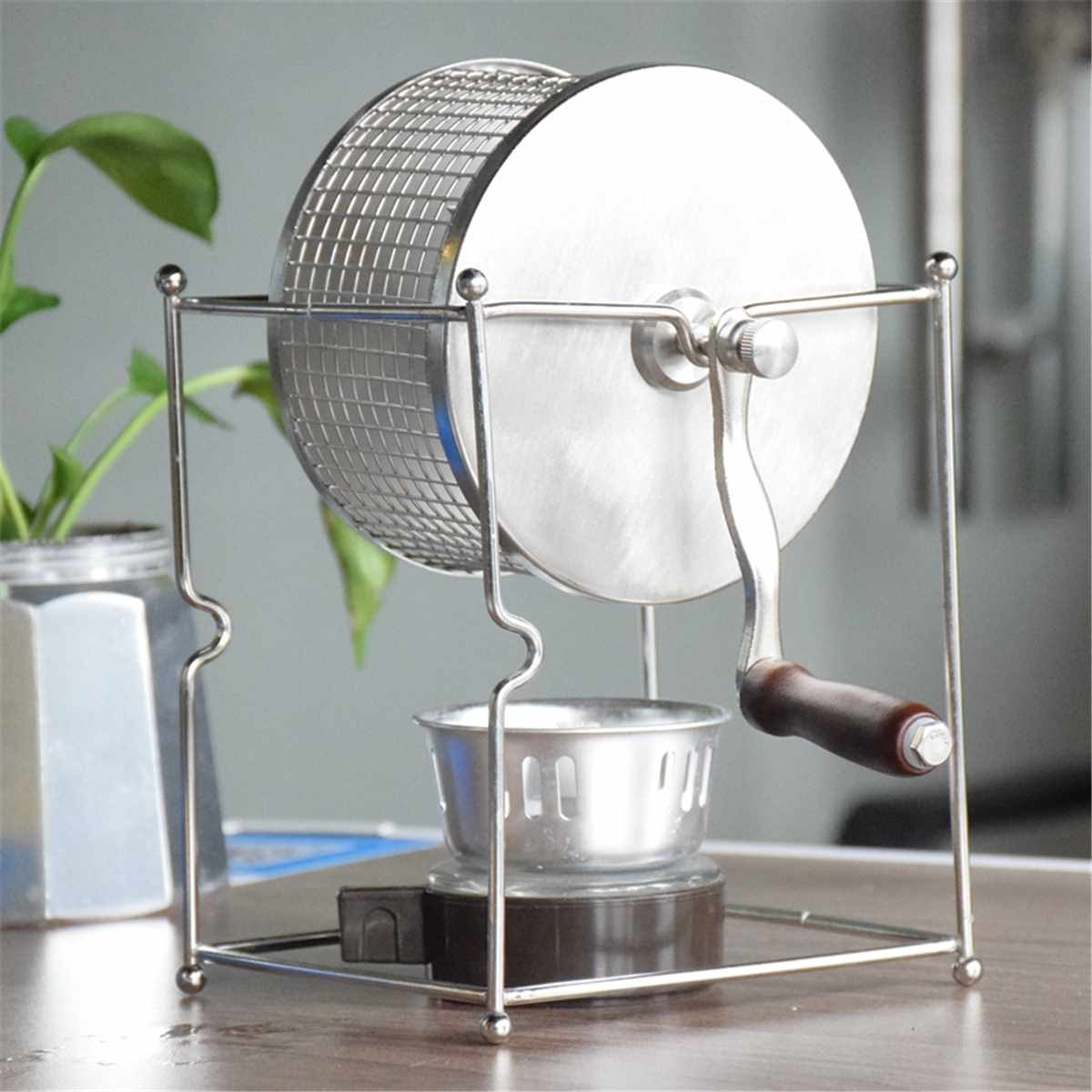 Barista Stainless Steel Coffee Roaster Manual Coffee Beans Baking Machine Roller Kitchen Accessories Appliances Coffee Tools