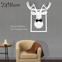 KIWARM Wall Mounted Decorative Stags Deer Head Manual Resin Home Decor Frame Bow tie Decoration Crafts Statues & Sculptures