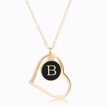 YANGQI Hallow Heart Alphabet Letter A-Z Pendant Necklace For Women Popular Design Trendy Jewelry Personality Necklace Gold Color a suit of stylish solid color heart shape letter carving pendant necklace for women