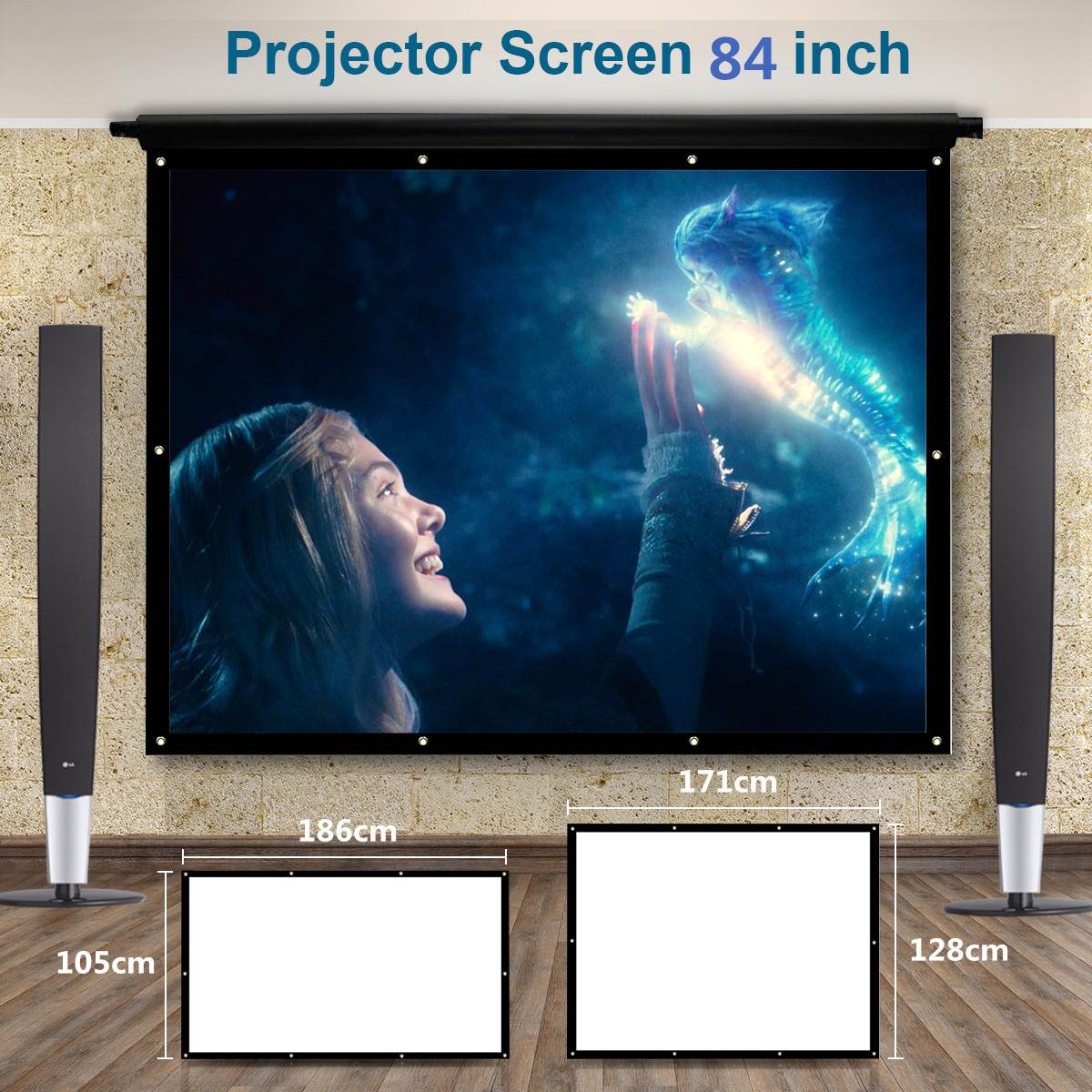 Portable 84 inch 3D HD Wall Mounted Projection Screen Canvas 4:3 LED Projector Screen For Home Theater