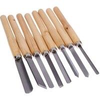 8 pçs/set Carpintaria Carving Facas Cinzel Conjunto de Ferramentas de Tornear Madeira Artesanato Despedida Detalhe Skew Cinzel Gouge Punho Facas Escultura|Roteadores de madeira|   -