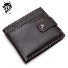 цена на 100% Genuine Leather Rfid Wallet Men Crazy Horse Wallets Coin Purse Short Male Money Bag Quality With Chain Walet Small
