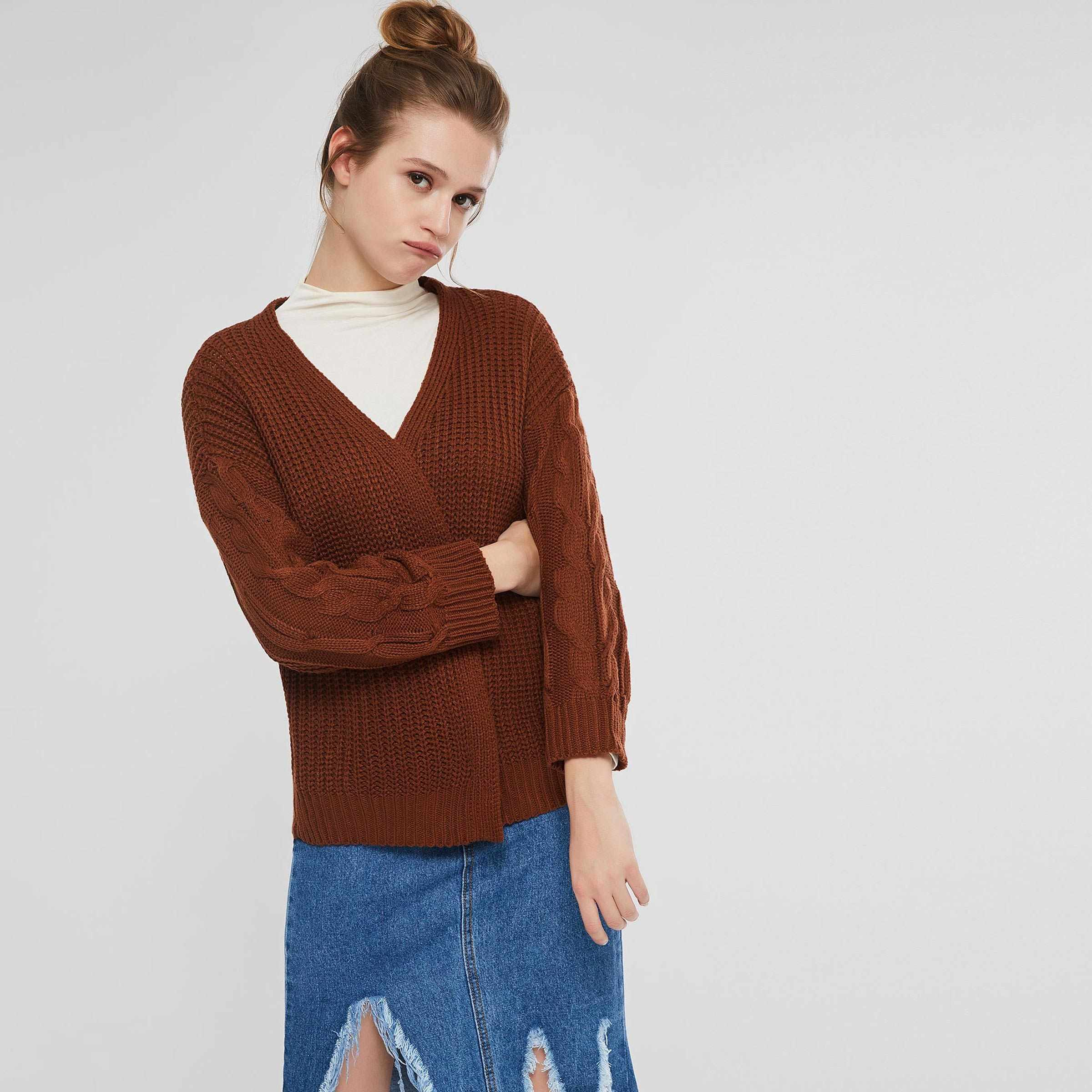 8f742b429 Sisjuly Girl Loose Dark Brown Cable Knit Cardigan Sweater Women Spring  Winter Preppy Style High Street
