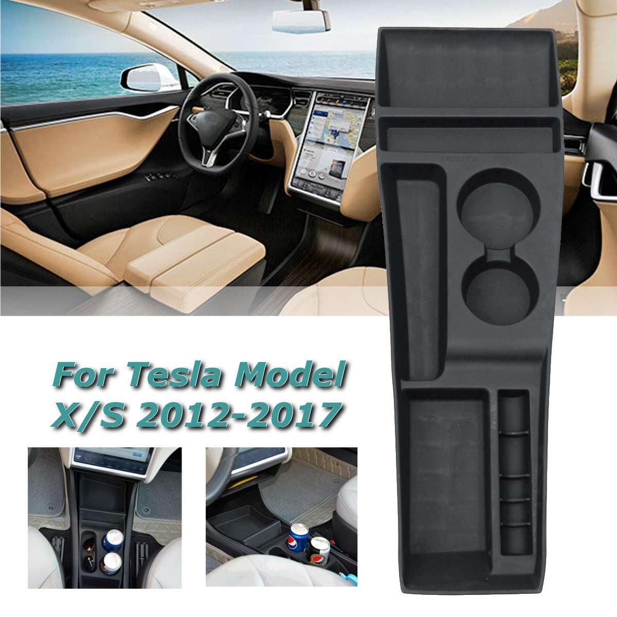 Silicone Noir Center Console Boîte De Rangement Porte-Gobelet Pour Tesla Modèle X Modèle S 2012 2013 2014 2015 2016 2017 boîte de Stockage De voiture