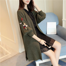 2018 New autumn winter women long sweater dress loose size embroidery cardigan coat fashion sweaters women clothes Solid Black(China)