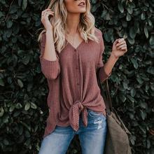 Women V-neck Tops Long Sleeve Casual Cardigan Irregular Front Buttons T-shirt