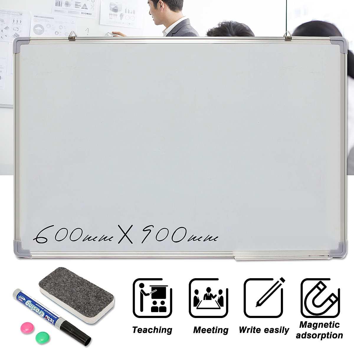 Kicute tableau blanc effaçable à sec magnétique 600x900 MM Double face avec stylo effaçable aimants boutons pour école de bureau - 2