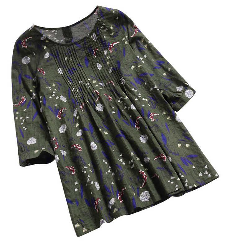 Romacci винтажная женская блузка из хлопка и льна с цветочным принтом и круглым вырезом 3/4 рукавом, Повседневная Свободная рубашка, футболка, топы желтого/зеленого/синего цвета