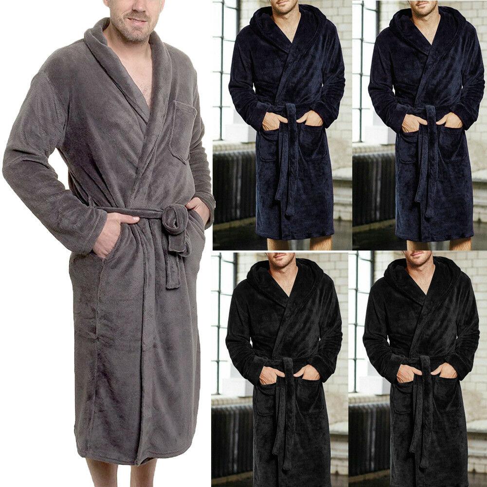 Thick Flannel Men's Bath Robes Gentlemen Homewear Super Soft Fleece Dressing Gown/Bath Robe Black Blue Grey Green Medium-2XL
