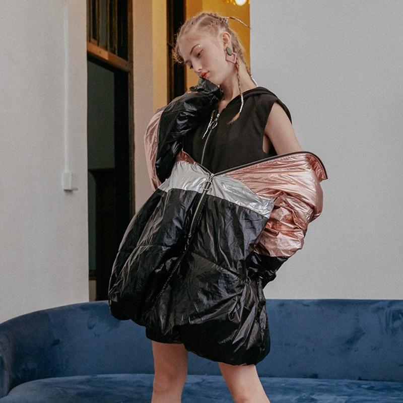 Femmes Manches Noir Nouveau Capuchon Couleur Grande Jk190 Mode De eam Printemps Manteau Veste 2019 Porter Taille À Way Longues Frappé Black Métal 2 FXTwxvq5