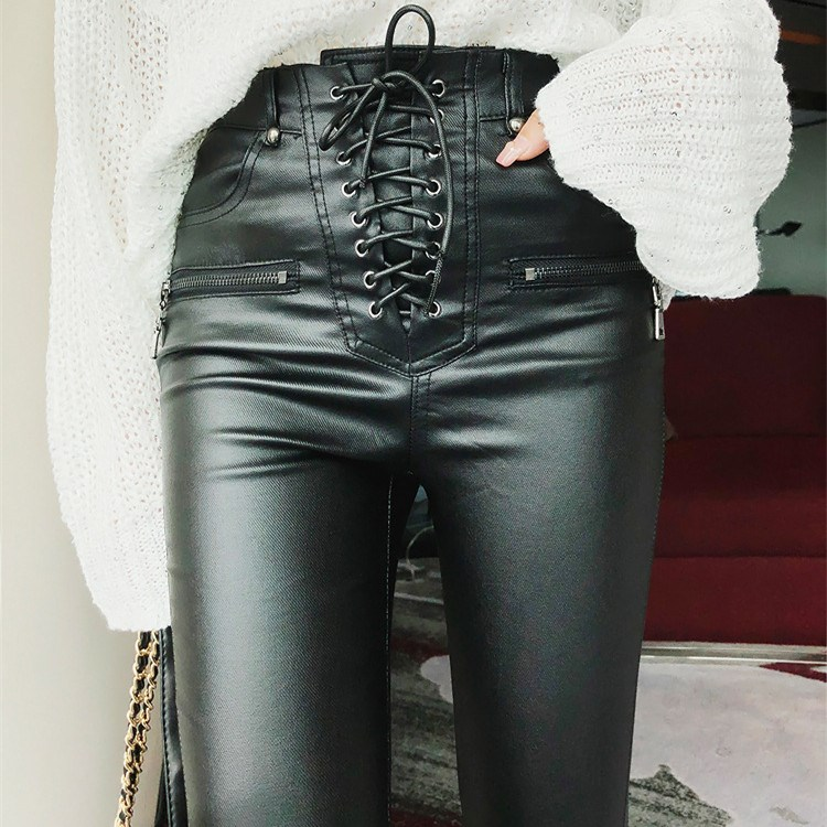 2019 New High Waist Pu Leather Pants Women Streetwear Lace Up Pencil Pants Casual Faux Pu Leather Pants Tights Trousers