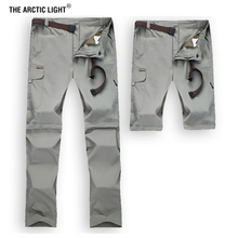 THE ARCTIC LIGHT Men Removable Breathable Summer Quick Dry Fish Pants Plus Size Waterproof Outdoor Sports Hiking Trousers S-7XL