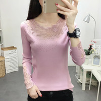 O neck Sweater Women Fashion 2019 Autumn Winter Lacce Tops Casual Knitted Pullovers Long Sleeve Jumper Pull Femme Clothing