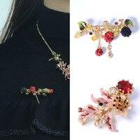 Free shipping fashion enamel glaze brooch Raspberry acorn gem tassel pins
