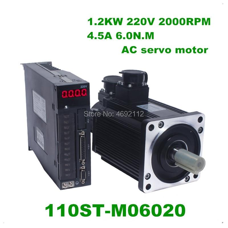 1.2KW 110ST-M06020 220 V 1200 W AC Servo motor 2000 RPM 6N. m. matched Motorista servomotor Único-Fase ac unidade de ímã permanente