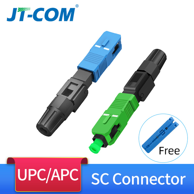 100pcs SC APC סיבים אופטיים מהיר מחבר, שדה הרכבה מוטבע UPC יחיד מצב אופטי מהיר קר מחבר עבור FTTH כבל