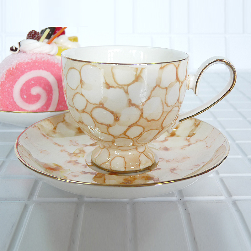 High quality bone china coffee set deluxe White spotted brown A set of 12 pieces 90ml Birthday Holiday Gift