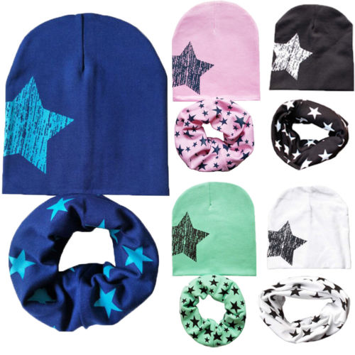2019  Cotton Baby Hat Scarf Set Kids Cap Collar Boys Girls Warm Beanies Scarf 2Pcs Hot