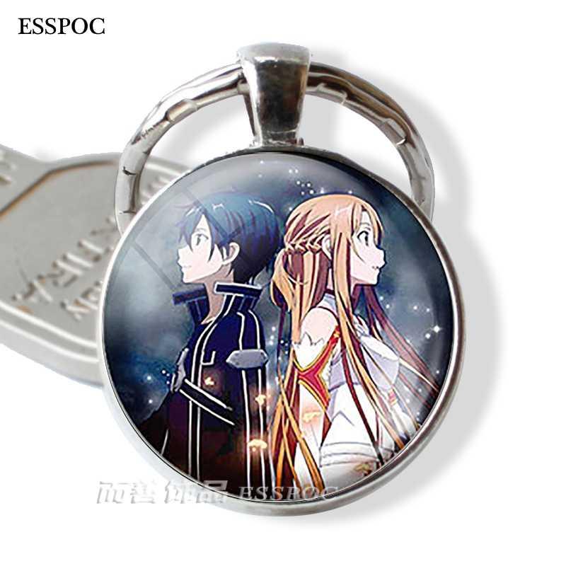 Espada arte en línea llavero colgante Kirigaya Kazuto Yuuki Asuna Cosplay figura llavero anillos Anime joyería Accesorios