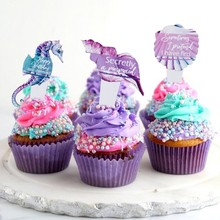 8pc/set Mermaid Party Decorations Theme Cake Cupcake Toppers  For Girls Birthday Decor Supplies