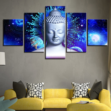 HD Printing Canvas Pictures Modern 5 Pieces Buddha And Abstract Planets Painting Modular Home Living Room Wall Decor Art Posters
