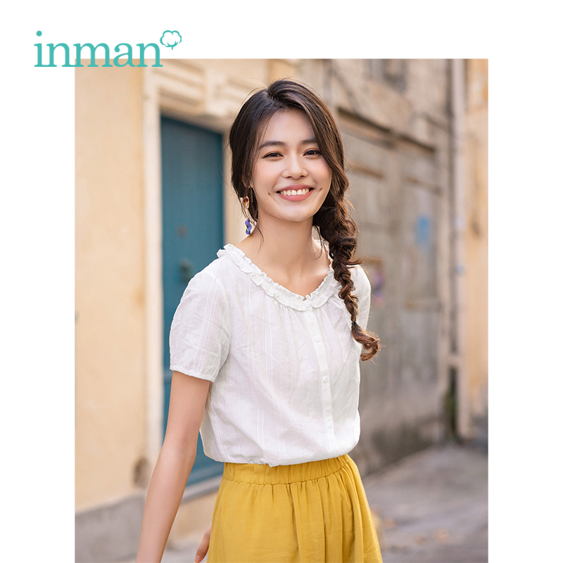 INMAN 2019 Summer New Arrival O-neck Lieterary Retro Holiday Style All Matched Short Sleeve Women Shirt