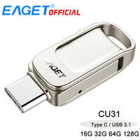 Eaget CU31 OTG USB3.1 Flash Drive Mini Flash Tipo di Disco-C Ad Alta Velocità Pendrive 16G 32G 64G Tipo 128G-C Interfaccia USB Flash Drive