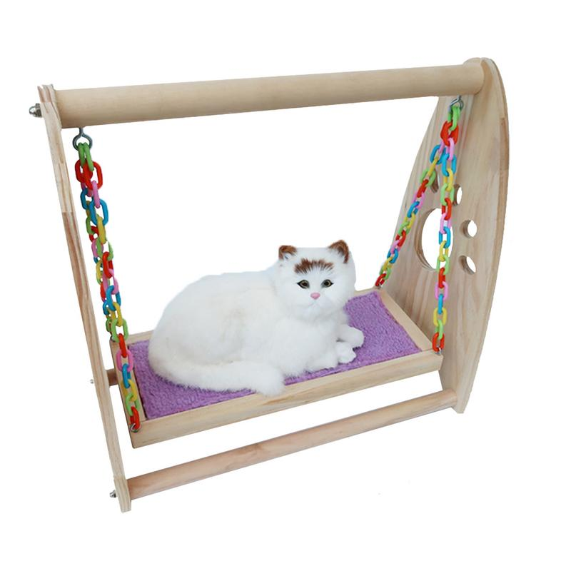Cartoon Wood Pet Hamster Mouse Wood Swing Hammock Play Toys Small Animal Cage Hanging Seesaw hamster toy Small pet'swing