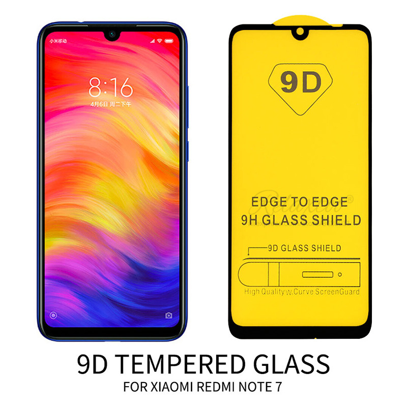 9D Curved For Xiaomi redmi note 7 note7 pro Case Tempered protective Glass on xiomi Redmi