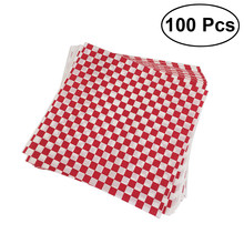 100Sheets Checkered Deli Basket Liner Checkered Food Wrapping Papers Sandwich Hamburger Wrap Prevents Food Stains(China)