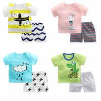 Ropa de bebé de algodón de Luna Blanco conjunto de ropa de verano para niños de 1-4 años de dos piezas de manga corta para niños