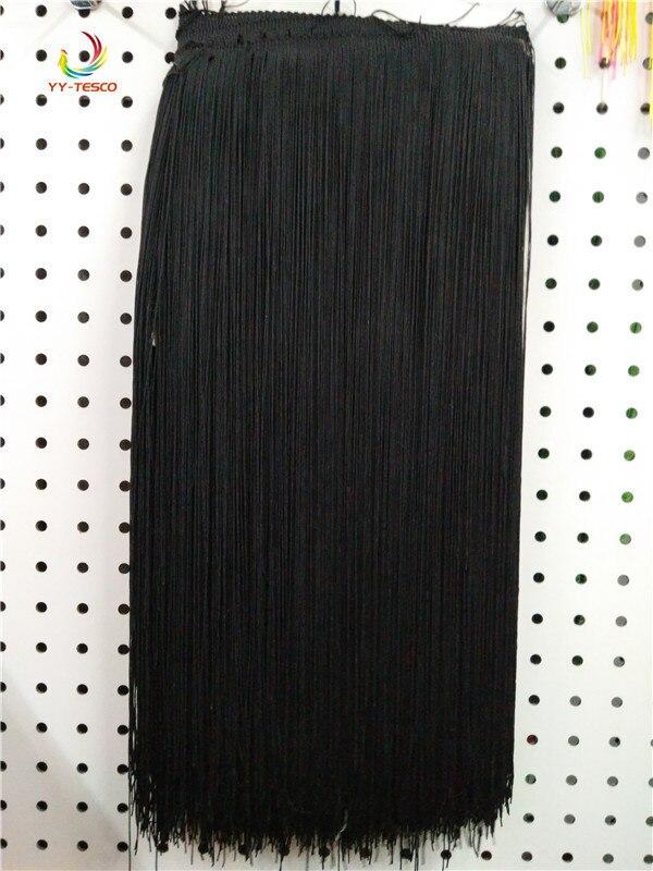 100 CM Long noir Polyester dentelle gland frange dentelle ruban d'habillage coudre Latin robe scène vêtement rideau bricolage accessoires SM028