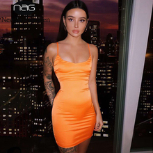 NewAsia 2 Layers Summer Dress Shiny Silky Satin Mini Dresses Woman Party  Night Orange Tight Dress 247636a9d190