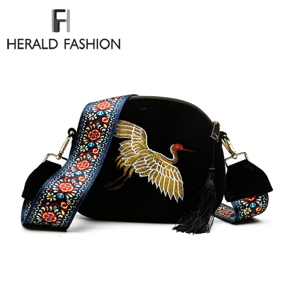 Bild von Herald Fashion Mini Velvet Embroidery Crane Shell Bag Wild Strap Fashion Shoulder Bags Designer Tassel Vintage Crossbody Bag
