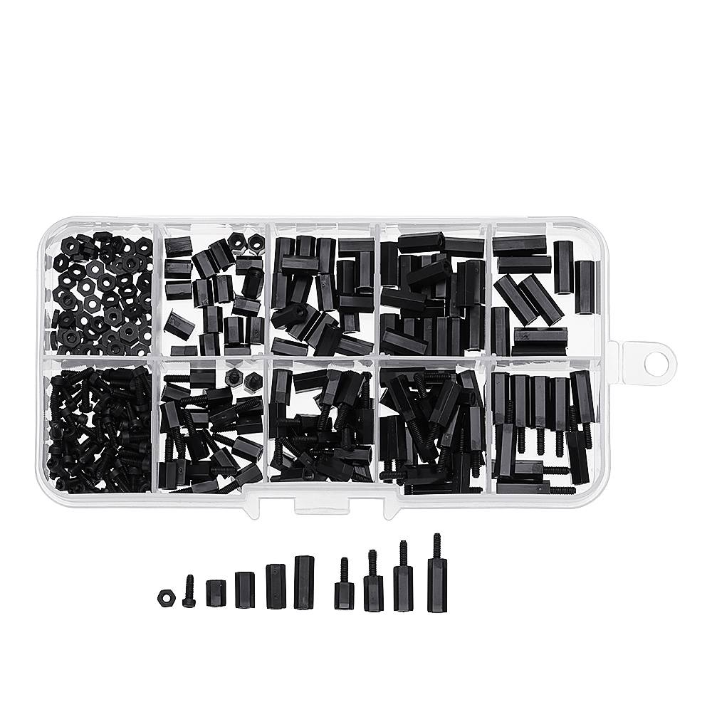 Suleve 300Pcs M2NH4 M2 Nylon Screw Black Hex Screw Nut Nylon PCB Standoff Assortment KitSuleve 300Pcs M2NH4 M2 Nylon Screw Black Hex Screw Nut Nylon PCB Standoff Assortment Kit