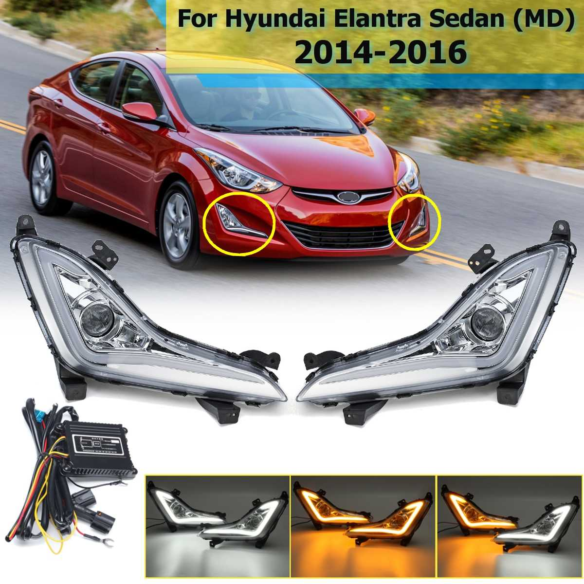 1 Pair Front Led DRL For Hyundai Elantra Sedan 2014 2015 2016 Daytime Running Light Fog Lamp DIY Turn Signal Car Styling