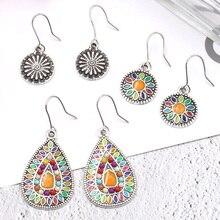 3pairs vintage South African earrings set women's bohemian beach wind dangler metal water drop geometric pendant gifts