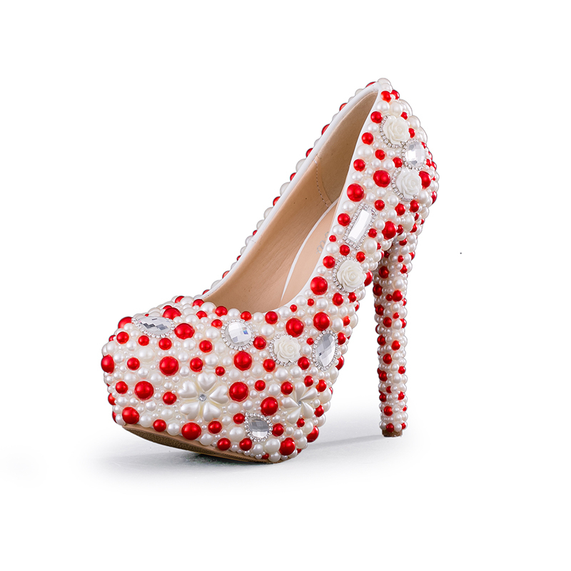 2018 New Designer White and Red Pearl Wedding Party Shoes Gorgeous Women High Heel Platform Shoes Bridal Pumps 2cm Wedge Heel2018 New Designer White and Red Pearl Wedding Party Shoes Gorgeous Women High Heel Platform Shoes Bridal Pumps 2cm Wedge Heel
