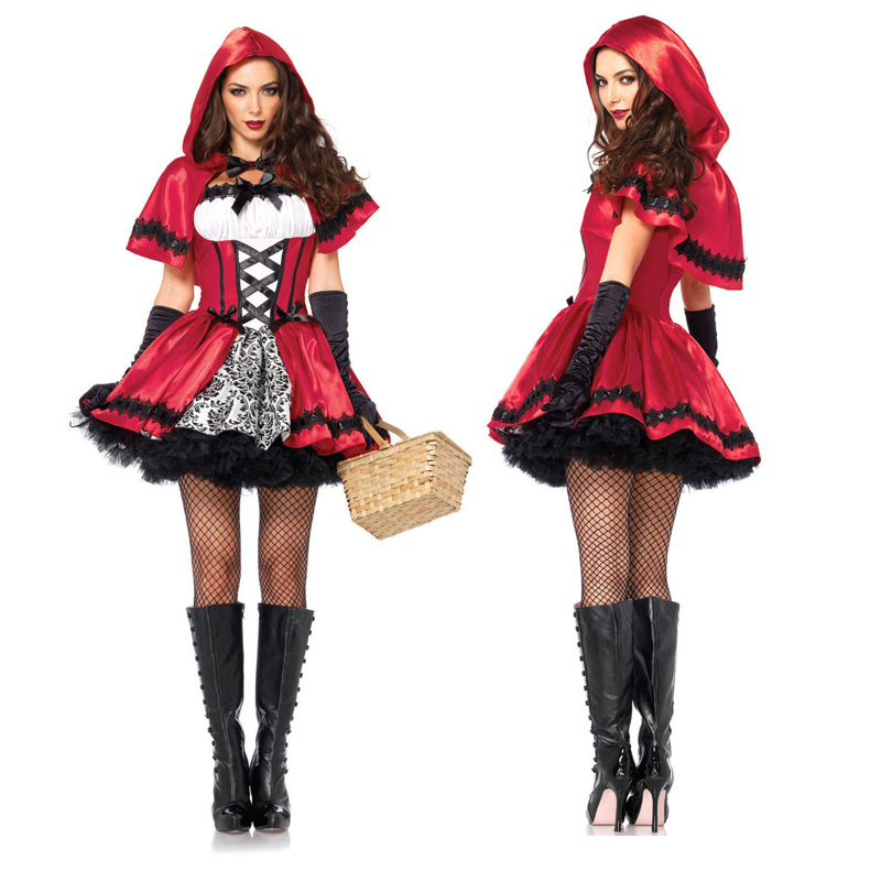 Hot Adult Women Halloween Classic Little Red Riding Hood Costume Fantasia Carnival Party Cosplay Fancy Dress Outfit