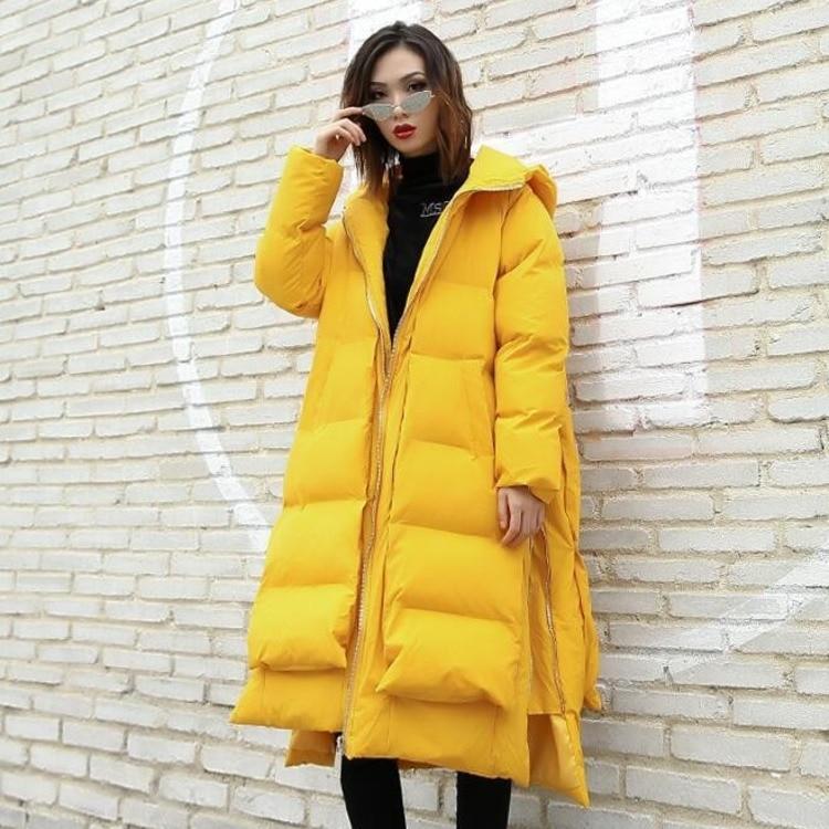 Lâche yellow À Casaco Streetwear 0780 De Black Mode Jaune Capuchon Femmes Inverno D'hiver Manteau Taille Manteaux Côté Zipper 2018 Parka Plus Feminino 1wqw5pPO