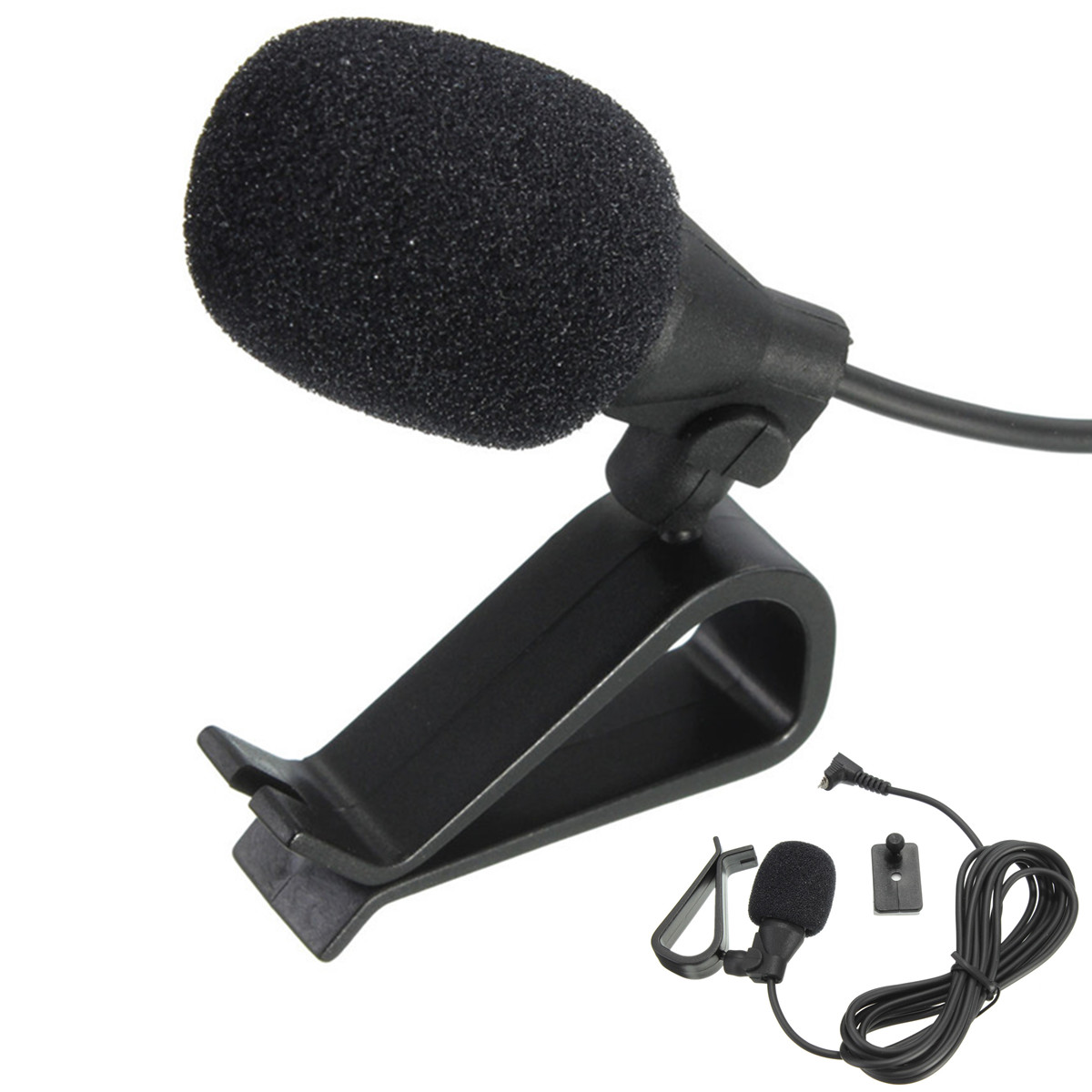 CLAITE Portable Wired 3.5mm Clip-on Lapel Car Audio Microphone Mic Stereo External Microphone For PC Speaker Mini