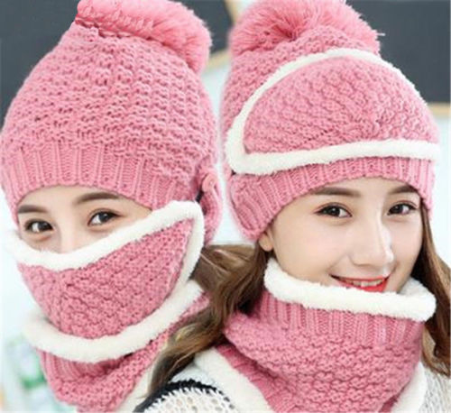 Women's Ladies Girls Kitted Crochet Wool Beret Hat With Scarf Mask Winter Warm